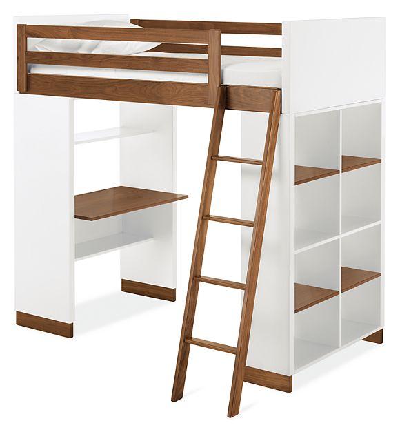 Moda Kids' Loft with Shelves - Modern Bunk Beds & Loft Beds .