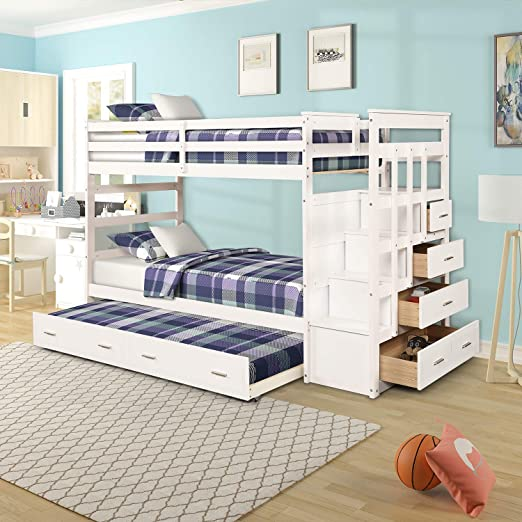 Amazon.com: Wood Bunk Bed for Kids, Twin Over Twin Bunk Bed Frame .