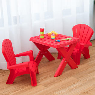 Gymax Plastic Children Kids Table & Chair Set Play In/Outdoor .