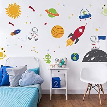 Amazon.com: decalmile Outer Space Wall Decals Planets Rocket .