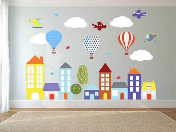 Wall decals Kids wall decals city decal buildings decal | Et