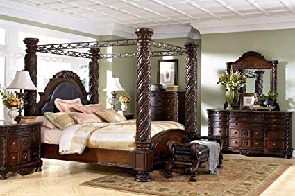 "Amazon.com: Ashley Furniture ""North Shore 5 Piece Canopy Bedroom ."
