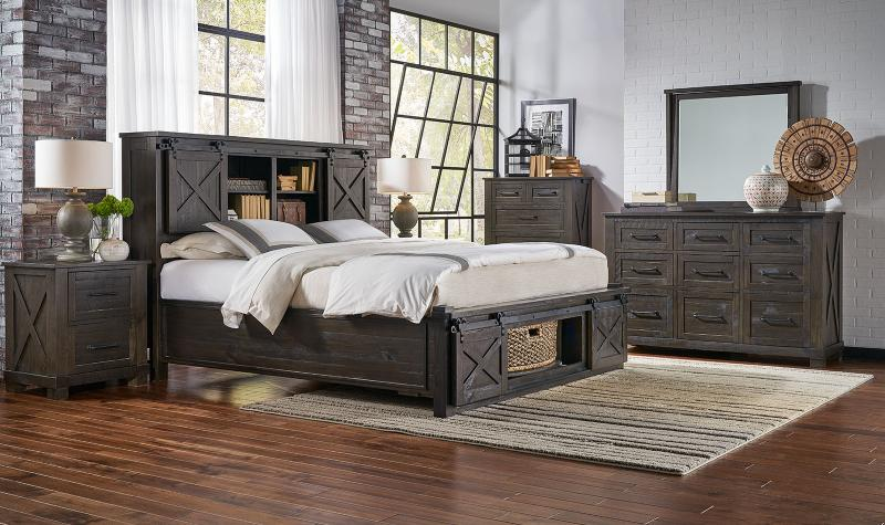 Rustic King Rotating Storage Bedroom Set 5Pcs SUVCL5133 A-America .