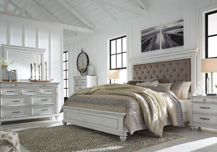 Kanwyn Whitewash Upholstered King Panel Bedroom Set | Cincinnati .