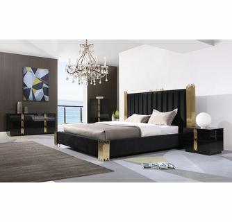 Modrest Token Modern 5-Pc Black/Gold King Bedroom Set by VIG Furnitu