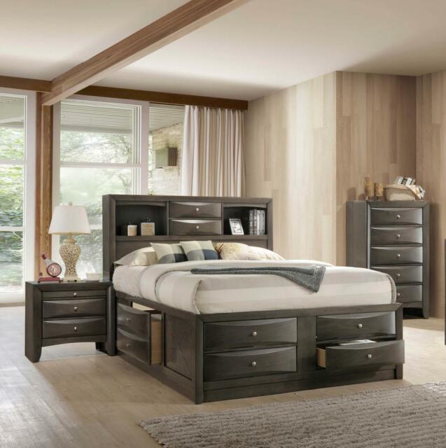 Modern Grey Finish Storage King Size Bedroom Set 3Pcs Crown Mark .