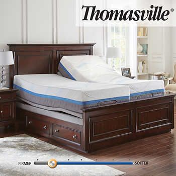 "Thomasville Precision Gel 14"" Memory Foam Split King Mattress with ."