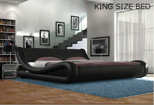 Details about Black White Designer Double King Size Bed Frame and .