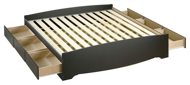 King size Black Wood Platform Bed Frame with Storage Drawers .