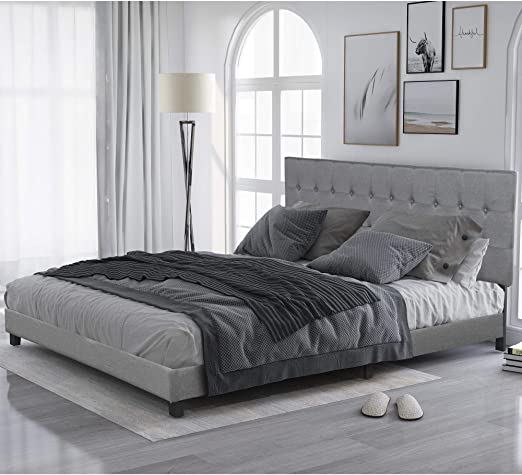 Amazon.com: King Bed Frame, Upholstered Platform Bed with .