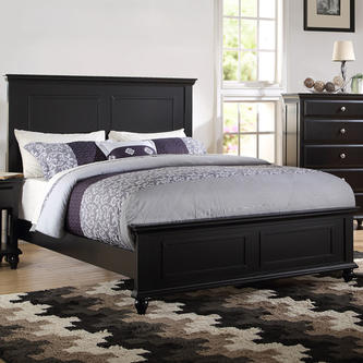 Esofastore Bedroom Black Wood bed frame Headboard Footboard .