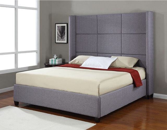 Modern King Sized Bed Frame With Tall Headboa