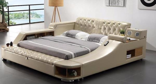 Bed, King Size Leather Bed With Speake