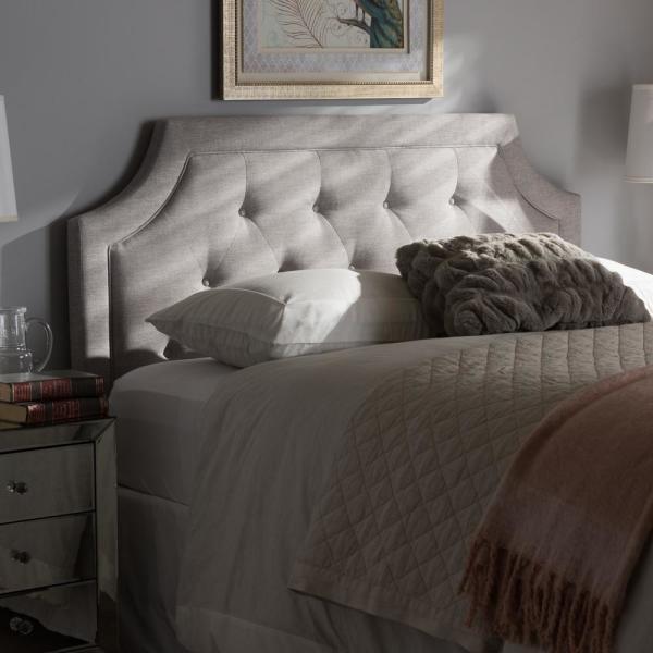 Baxton Studio Mars Greyish Beige Fabric Upholstered King Size .