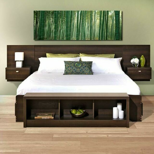 2 Piece Brown King Size Headboard w/ Floating Nightstands Storage .