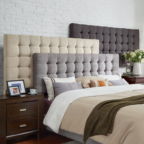 Shop Briella Tufted Linen Upholstered King-size Headboard by .