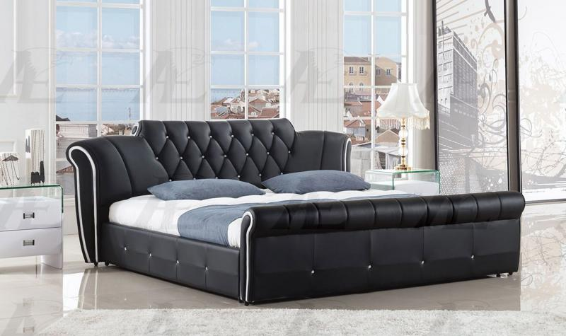 Black PU Eastern King Size Tufted Headboard Platform Bed American .