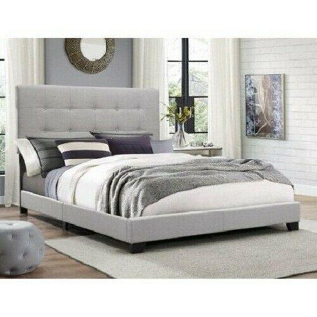 KING SIZE PLATFORM BED Wood Frame Tufted Headboard Bedroom Gray .