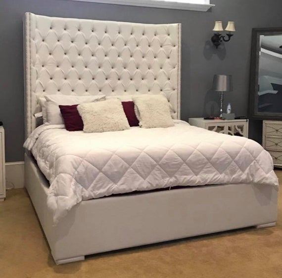 King Size Tufted Bed Luxurious Wingback Tufted Upholstered Bed | Et