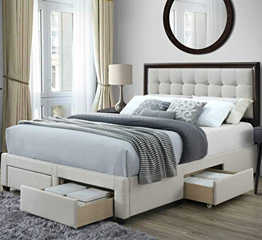 Amazon.com: DG Casa Soloman Upholstered Panel Bed Frame with .
