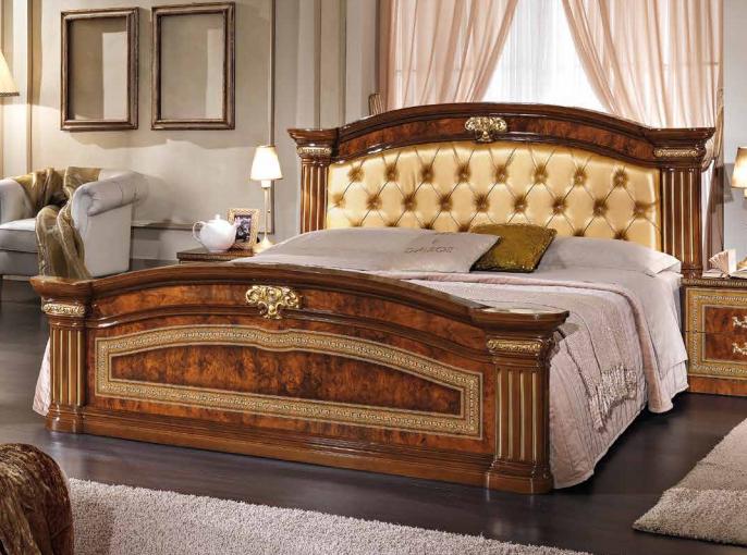 Alexandra King Size Bed w/Upholstered Headboard, Walnut Buy Online .