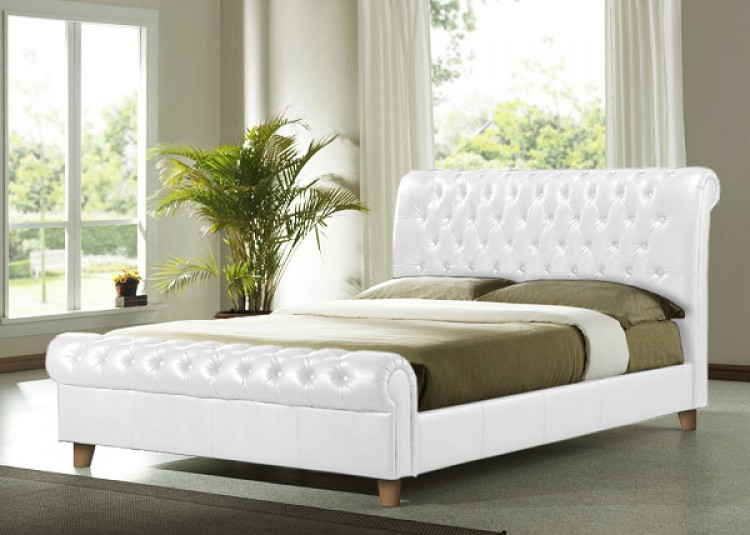 Home Decorating Pictures : Bed Frame White Leath