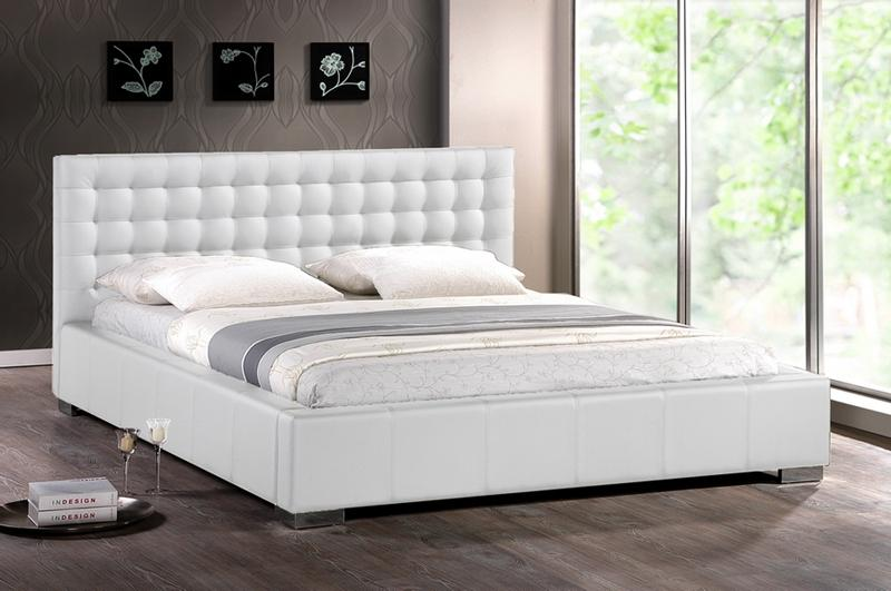 Modern White Faux Leather Queen King Platform Bed Frame Tufted .