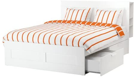 Amazon.com: Ikea King size Bed frame with storage & headboard .