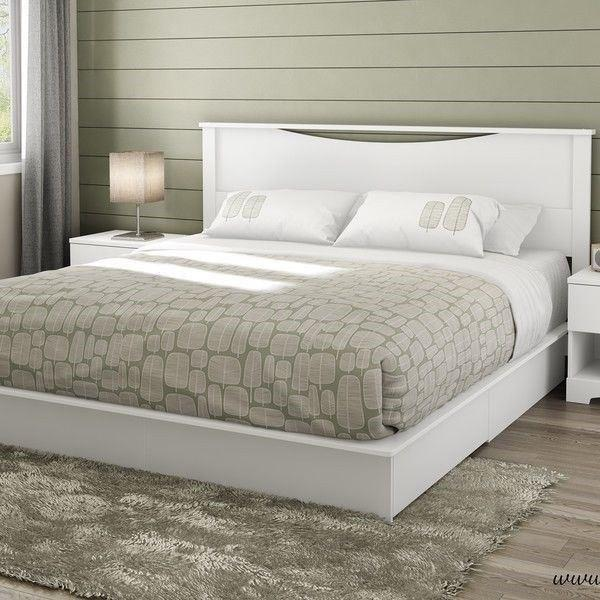 Full Queen King Size White Wooden Platform Bed Frame 2 Under Bed .