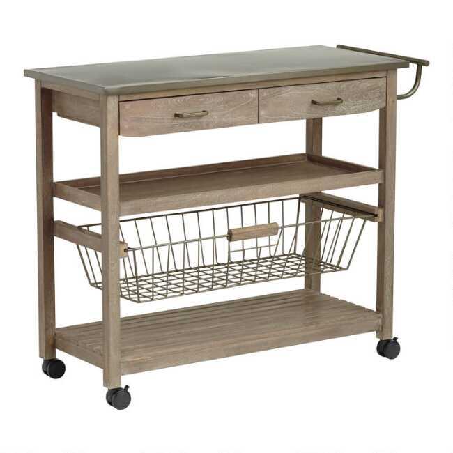 Mango Wood and Steel Maximos Kitchen Cart | World Mark