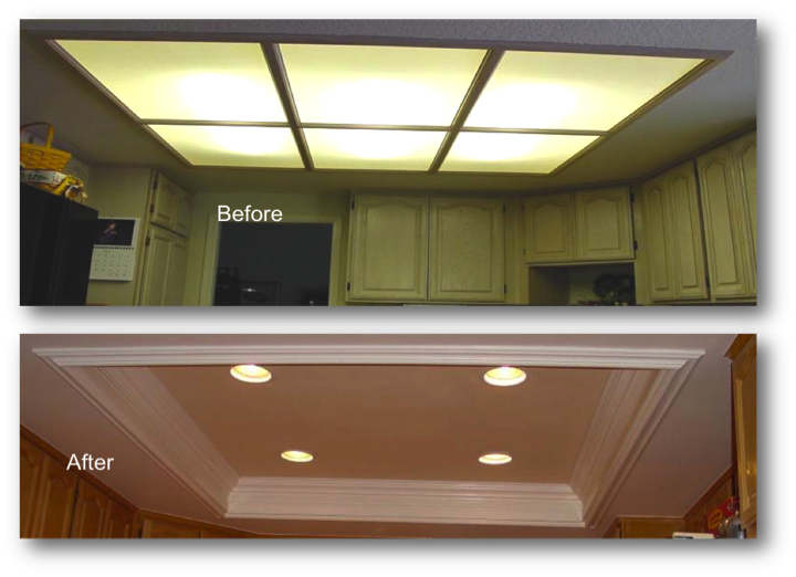 Kitchen Coffered ceiling giving your kitchen a much larger feel .