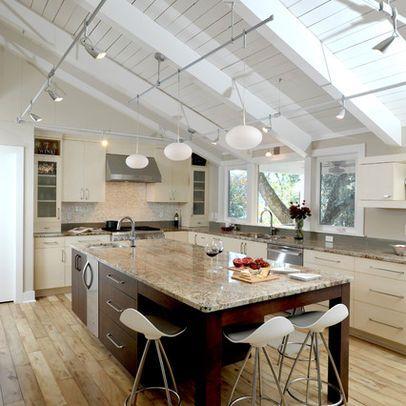 Modern Kitchen Photos Sloped Ceiling Lighting Design Ideas .