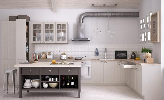 Scandinavian Kitchen Interior Design Stock Photo - Download Image .