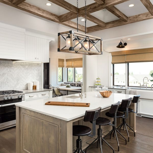Shop LNC Rustic Chandelier 4-Light Linear Kitchen Island Lighting .