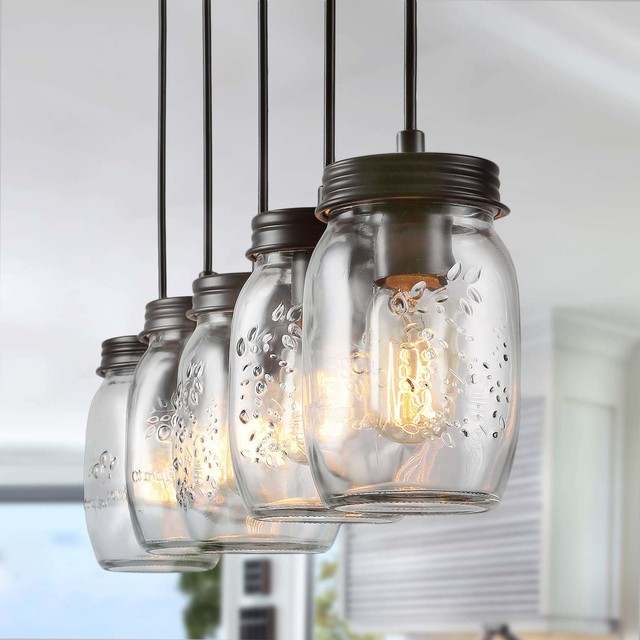 Farmhouse 5-Light Glass Mason Jar Island Kitchen Island Lighting .