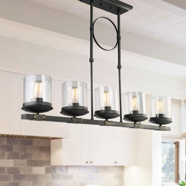 Transitional Kitchen Linear Kitchen Island Lighting Pendant .