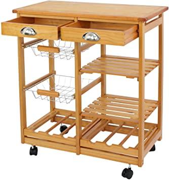 Amazon.com - Nova Microdermabrasion Rolling Wood Kitchen Island .