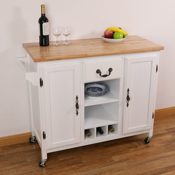 Shop Large Wooden Kitchen Island Trolley with Heavy Duty Rolling .