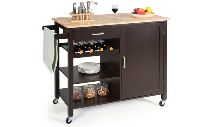 4-Tier Wood Kitchen Island Trolley Bar Cart with Wine Rack | Group