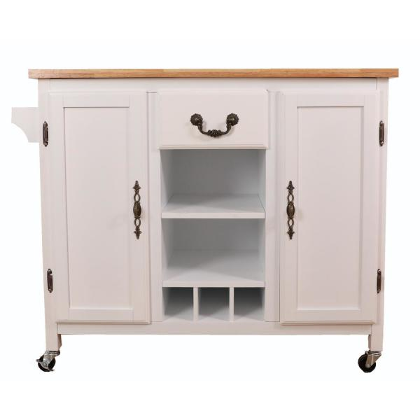 Basicwise White Large Wooden Kitchen Island Trolley with Heavy .