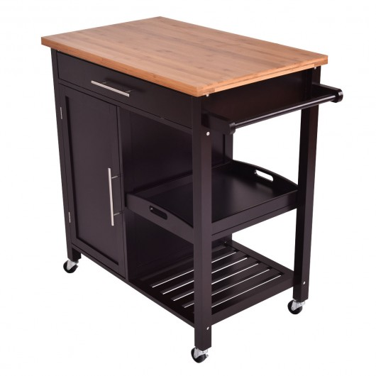 Bamboo Kitchen Island Trolley Cart - Kitchen & Dining Carts .