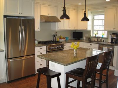 Pictures- small kitchen island with seating on end - Kitchens .