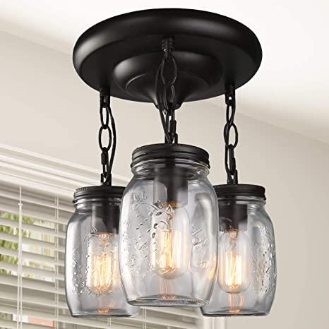 LNC Flush Mount Ceiling Light Fixture, Farmhouse Mason Jar Glass .