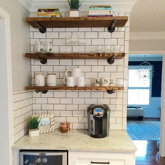 Industrial Floating Shelves Set of 3 Open Kitchen Shelves | Open .
