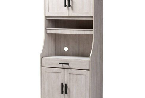6 Shelf Portia Kitchen Storage Cabinet White - Baxton Studio : Targ