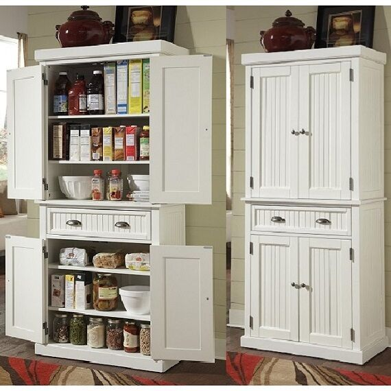 Tall Storage Cabinet Utility Double Door White Pantry Closet .