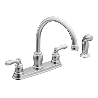 Moen Caldwell Chrome 2-handle Deck Mount High-arc Kitchen Faucet .