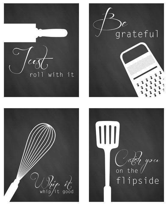 black and white kitchen art - Free printables | Kitchen wall art .