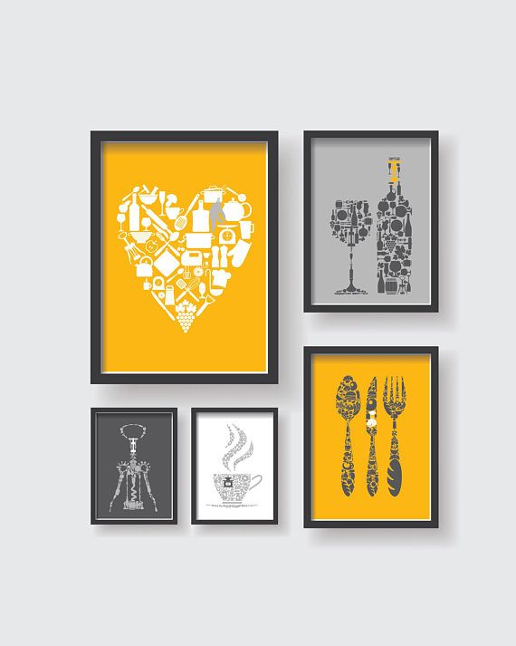 Mustard Yellow Gray Kitchen Wall Decor Set, Yellow Kitchen wall .