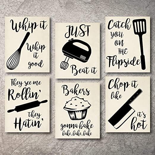 Amazon.com: Home Decor Funny Gift 6 Kitchen Wall Art Prints .